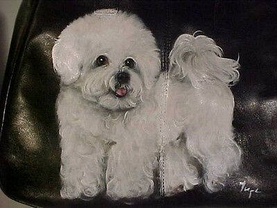Bichon Frise  Handpainted  Handbag  Best Bichons  On Ebay !