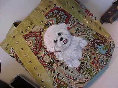 Bichon Frise  Handpainted  Handbag Beauutiful! Best On Ebay