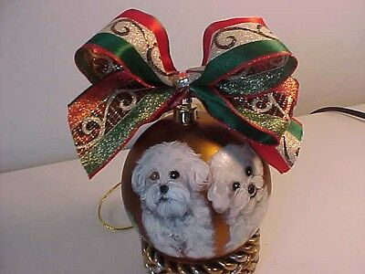 Bichon Frise Handpainted Christmas Ornament Best Bichons  On Ebay