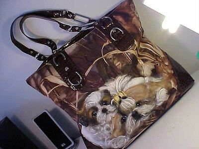 Shih  Tzu  Mom And Pup Handpainted  Handbag