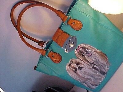 Shih Tzu Handpainted  Tote Handbag Gorgeous Color!