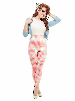 Collectif Vintage Bonnie Pastel Gingham Cigarette Trousers