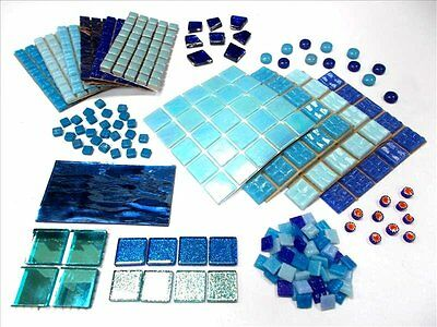 Mosaic Tile Kit. Mixed Mosaic Tessera ,Stained Glass.LARGE Variety Pack. Blue