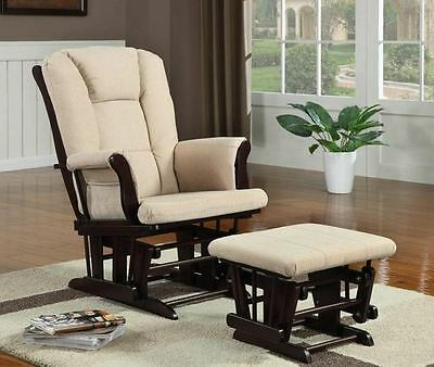 Cappuccino Finish Beige Microfiber Glider Rocker with Ottoman by Coaster 650011