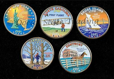 2001 Complete Set Of Colorized State Quarters - P Mint (5 Coins)