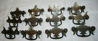 Vintage Lot Of 12 Brass Drawer Pulls