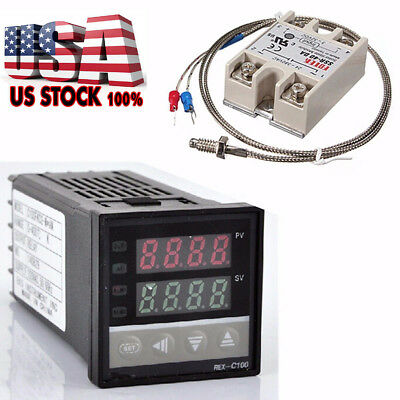 100-240V Digital PID Temperature Controller + max.40A SSR + K Thermocouple Probe