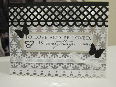 "Stampin Up ""To Love..."" Wedding/ Anniversary Silver Butterfly Handmade Card"