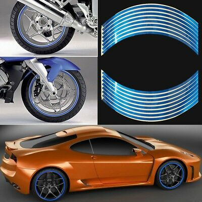"Motorbike Car Reflective Wheel Rim Trim Tape Sticker Up to 18"" Blue Pack of 16"