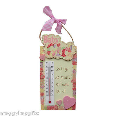 Baby Girl Room Thermometer - Pink Inscription So Tiny So Small So Loved By All