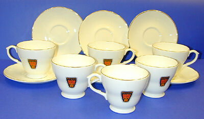 Rover Cup And Saucer Set, Set Of 6, Bone China, Brand New (Dpm72)