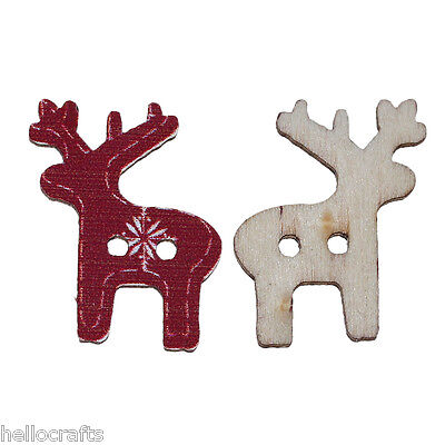 50PCs Craft Dark Red Reindeer X-mas Wooden Button Card Sewing Scrapbook 25x21mm