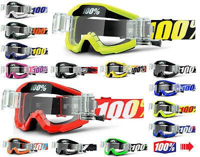 2017 100% PERCENT STRATA MOTOCROSS GOGGLES with GSO ROLL OFF CANISTERS mx mtb