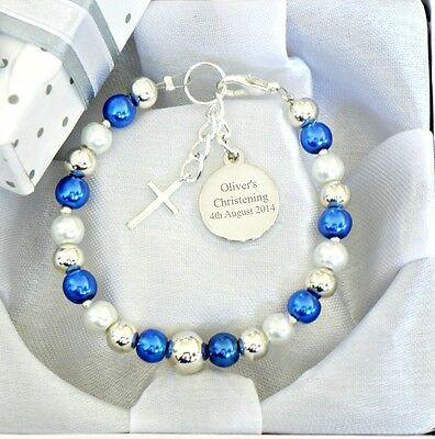 Baby Boy/Girl Christening Name Day Cross Personalised Engraved Charm Bracelet