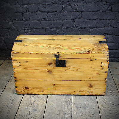 Medium Sized Antique Pine Dome Chest (£190 Ex VAT)