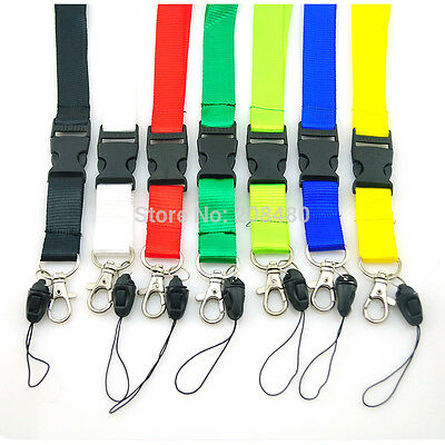 Plain Coloured Lanyard Keychain Document Holder - Choose Colour - Brand New