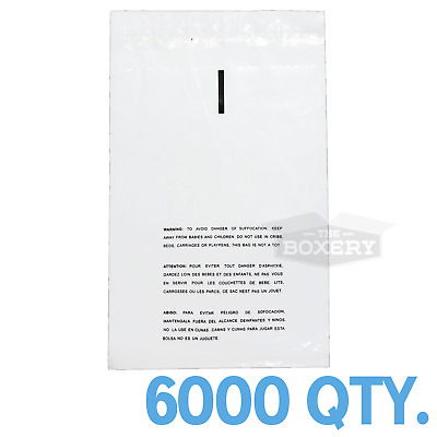 6000 10x15 Self Seal Suffocation Warning Clear Poly Bags 1.5 mil Free Shipping