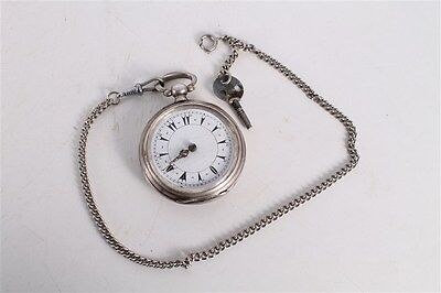 Rare Antique Vintage Old Ottoman Turkish Silver Mens Open Face Pocket Watch.