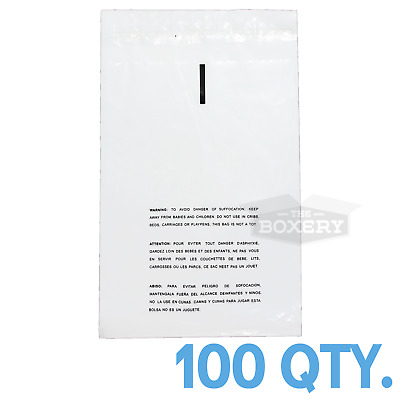 100 14x20 Self Seal Suffocation Warning Clear Poly Bags 1.5 mil Free Shipping