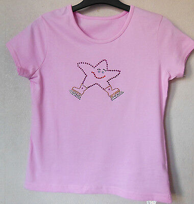 NEW Girls Ice Skating Dress T-Shirts with Funky Crystal Star Motif -