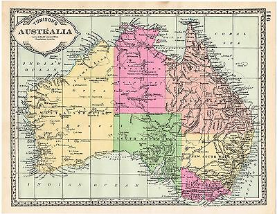Original Antique Vintage Map 1886 Original Tinted Nice Size Colored Australia
