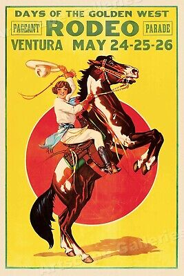 1933 Days of the Golden West Rodeo Vintage Style Western Poster - 16x24