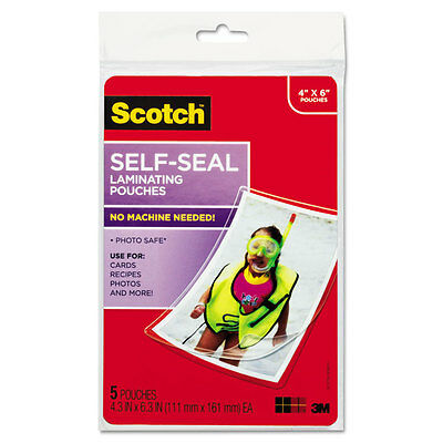 Scotch Self-Sealing Laminating Pouches 9.5 Mil 4 3/8 X 6 3/8 Photo Size 5/pack