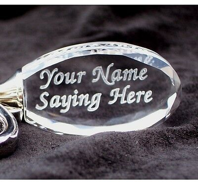 11 - PERSONALIZED Oval Crystal Key Chain and Ring 2 Lines  Custom Laser Engraved