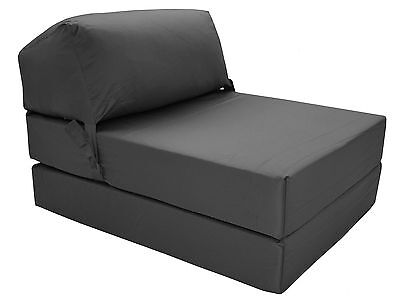 GRAPHITE Deluxe Jazz Single Chair Bed Z Guest Fold Out Futon Chairbed Matress