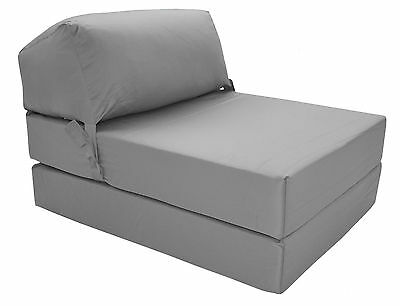 GREY Deluxe Jazz Single Chair Bed Z Guest Fold Out Futon Chairbed Matress