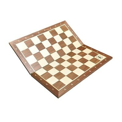 "Folding Walnut & Maple Wooden Chess Board - 2.25"" With Notation & Logo"