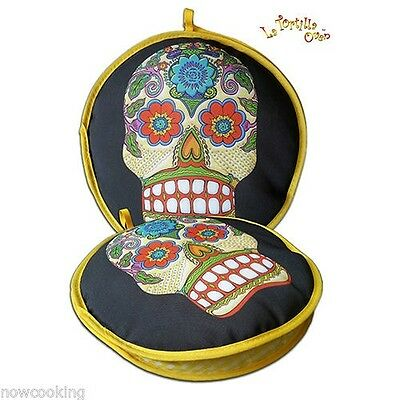 "10"" Microwave Tortilla Warmer Vegetable Steamer Insulated Day of the Dead Skull"