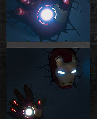 3D Deco Led Night Light Iron man 3 Mask Helmet + 3D Hand Wall Mounted Design NEW