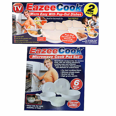 2 or 6 Piece Microwave Cook Cooking Pot Pan Set Plastic Container Silicone Seals