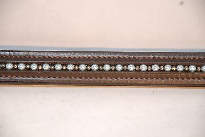 """17"""" Brown Leather Browband with Lt Blue Pearls and Metal Beads"""
