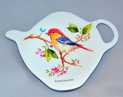 "Tree of Life Bird TeaBag Holder Ashdene of Australia Melamine NIB  4"" x 3""  NEW"