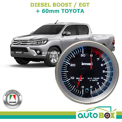 Diesel Dual Turbo Boost and EGT Pyro Exhaust Temp Gauge 60mm Cup 12v suit Hilux