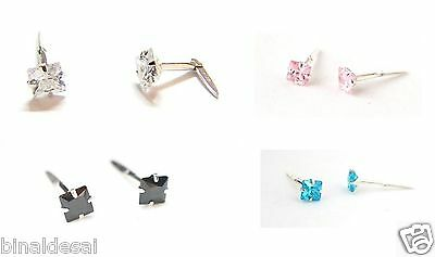 Girls 925 Sterling Silver Andralok Small 4mm Square Studs Earrings B'Day GIFT BN
