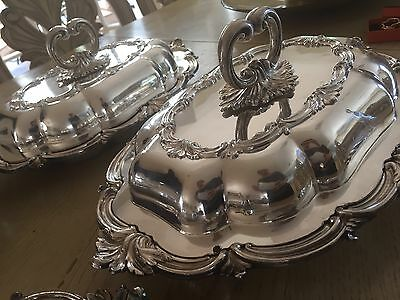 Antique Georgian Old Sheffield Silver Plated Set Of 4 Entree Dishes