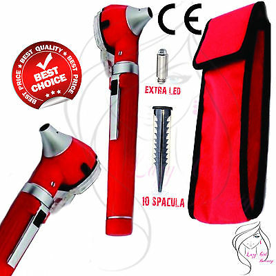 Red MINI OTOSCOPE Fiber Optic-Medical Examination-Diagnostic + Extra Bulb