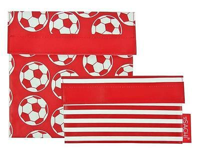 NEW Sachi Lunch Pockets Set - SANDWICH & SNACK - Reusable Bags - Soccer Ball