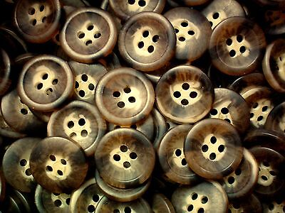 15mm 24L Light Brown Toffee 4 Hole Quality Knitting Jacket Craft Buttons W376