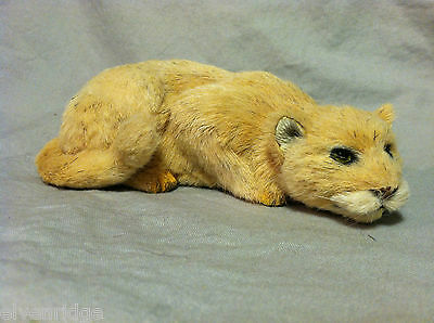 Native to the Americas Cougar Cat Animal Figurine - recycled rabbit fur