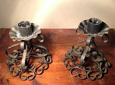 Two Piece Set Antique Candlestick Holders Black Metal 5 Inches Tall