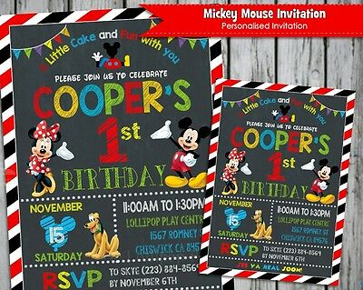 Mickey Mouse Minnie Party Supplies Personalised Invitations Chalkboard Invites