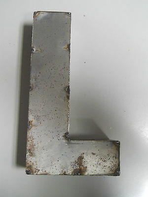 """9"""" RUSTIC Reclaimed Metal Industrial LETTER L 2"""" thick 3D TIN Sign ARCHITECTURAL"""