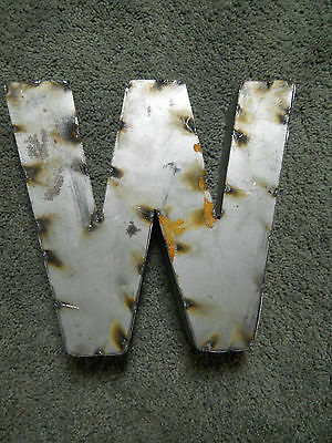 """9"""" RUSTIC Reclaimed Metal Industrial LETTER W 2"""" thick 3D TIN Sign ARCHITECTURAL"""