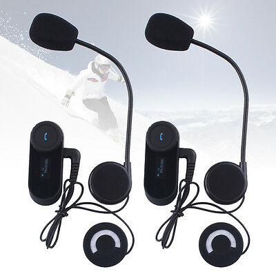 2x BT Motorcycle Helmet Bluetooth Intercom 800M Multi Interphone Headset FM LCD