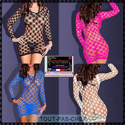 Mini Robe Résille Tenue Sexy Combinaison Bodystocking Ensemble  Lingerie Coquine