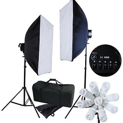 """2x 3600W Studio Continuous Lighting Kit Photography Softbox Light Stand 20x28"""""""